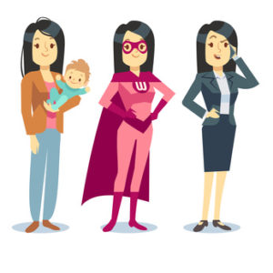 Super woman in superhero costume, mom with baby, businesswoman balancing vector concept. Motherhood and career job illustration